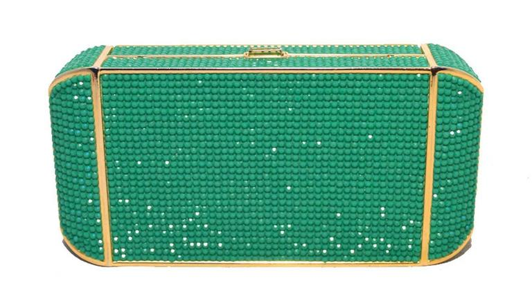 Blue Judith Leiber Swarovski Crystal Green Minaudiere For Sale