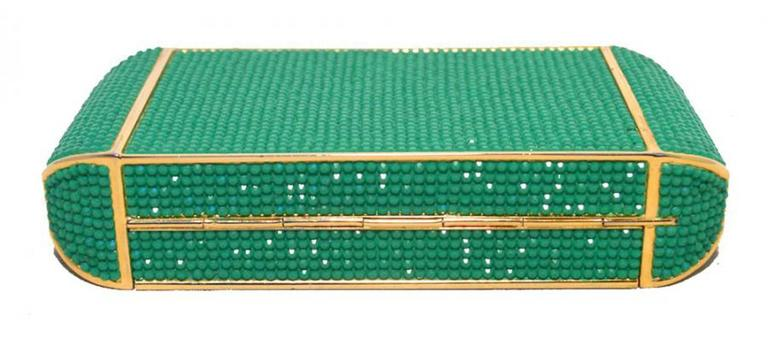 Judith Leiber Swarovski Crystal Green Minaudiere For Sale 2