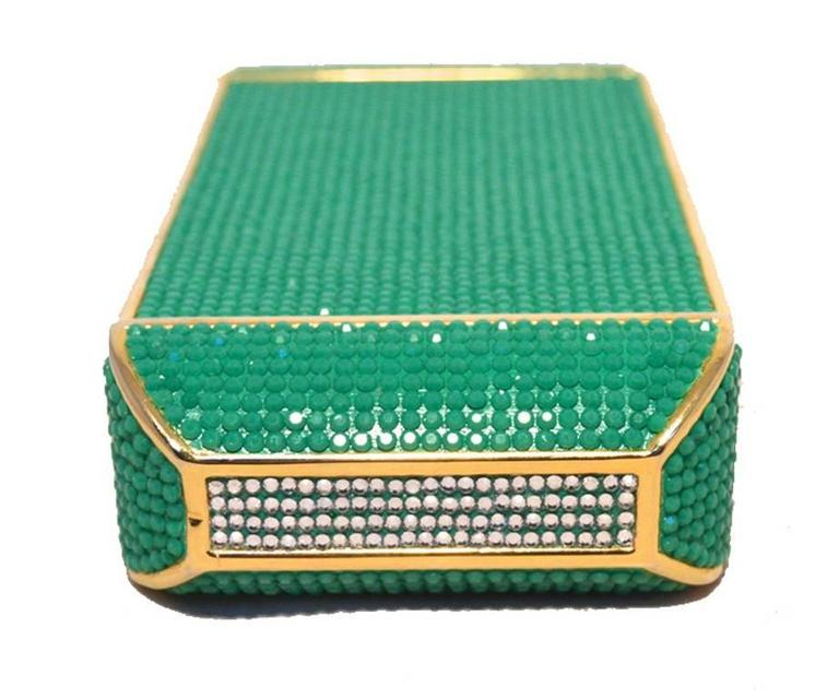 Judith Leiber Swarovski Crystal Green Minaudiere In Excellent Condition For Sale In Philadelphia, PA