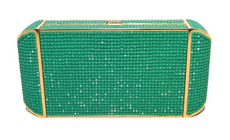 Women's Judith Leiber Swarovski Crystal Green Minaudiere For Sale