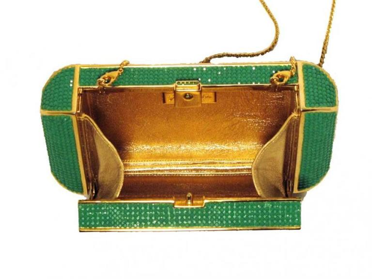 Judith Leiber Swarovski Crystal Green Minaudiere For Sale 3