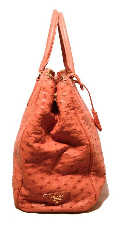 Orange Gorgeous Prada Galleria Saffiano Peach Coral Ostrich Leather Tote Bag For Sale