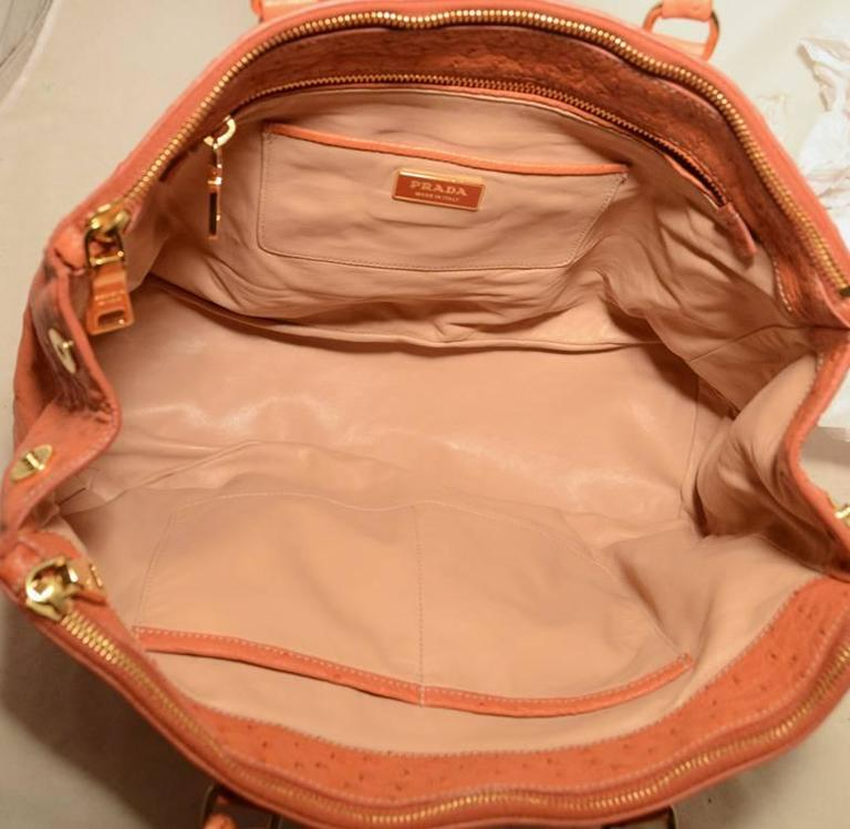Gorgeous Prada Galleria Saffiano Peach Coral Ostrich Leather Tote Bag For Sale 1