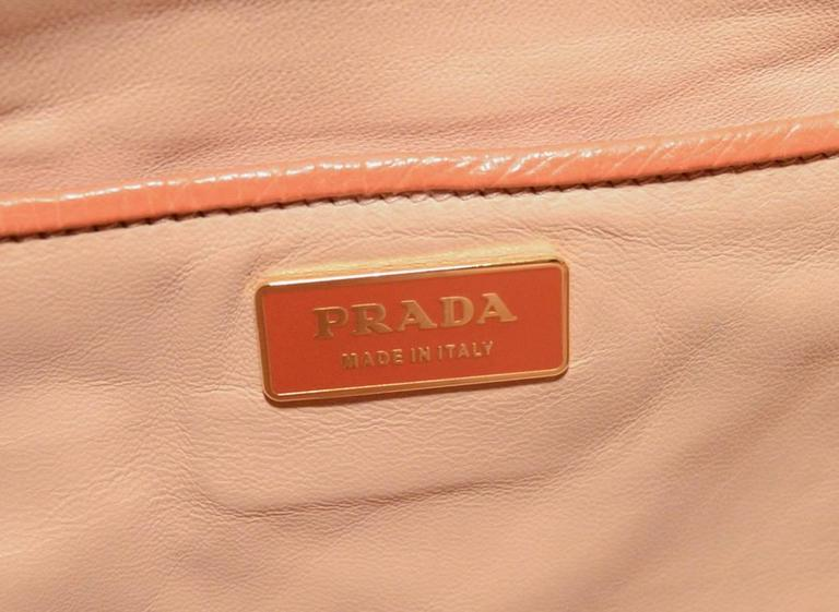 Gorgeous Prada Galleria Saffiano Peach Coral Ostrich Leather Tote Bag For Sale 2