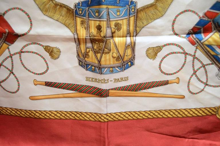 Hermes Vintage Les Tambours Silk Scarf in Red For Sale 1