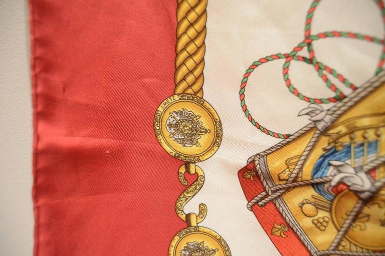 Hermes Vintage Les Tambours Silk Scarf in Red For Sale 2