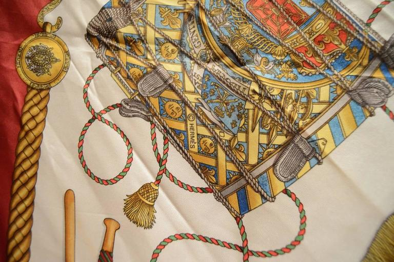 Hermes Vintage Les Tambours Silk Scarf in Red For Sale 4