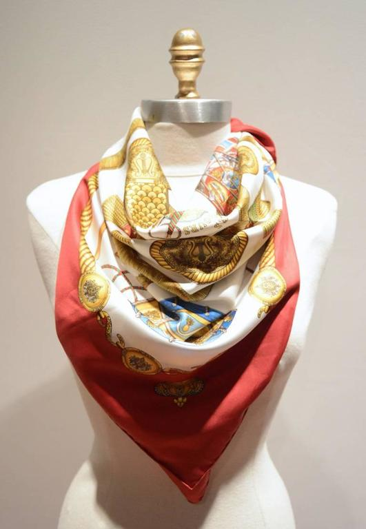 Women's or Men's Hermes Vintage Les Tambours Silk Scarf in Red For Sale