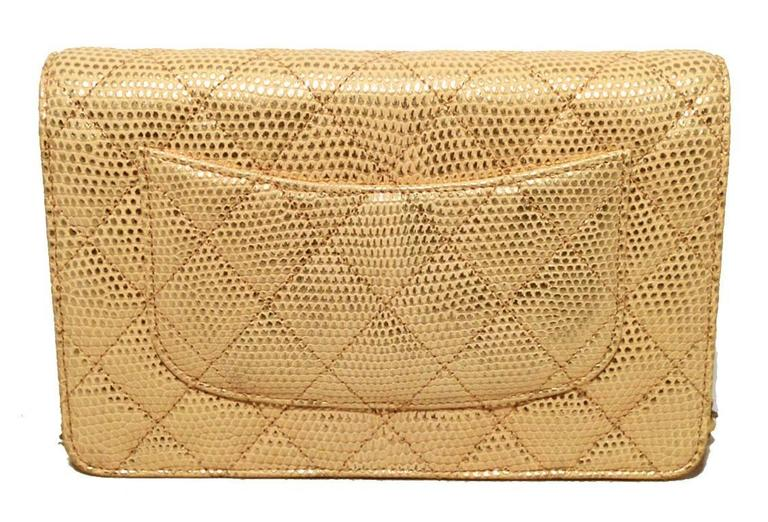 Fabulous Chanel Gold Lizard Classic Wallet on a Chain WOC Rare 3