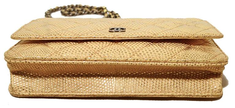 Fabulous Chanel Gold Lizard Classic Wallet on a Chain WOC Rare 4