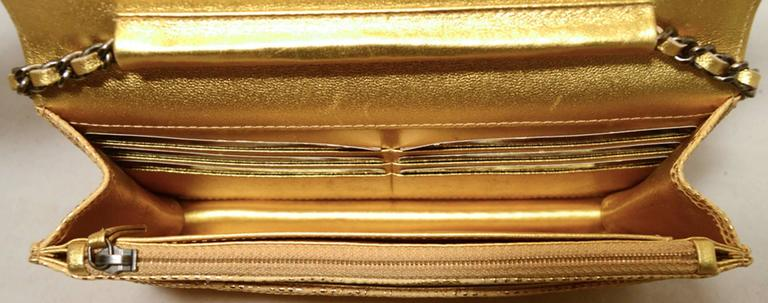 Fabulous Chanel Gold Lizard Classic Wallet on a Chain WOC Rare 6