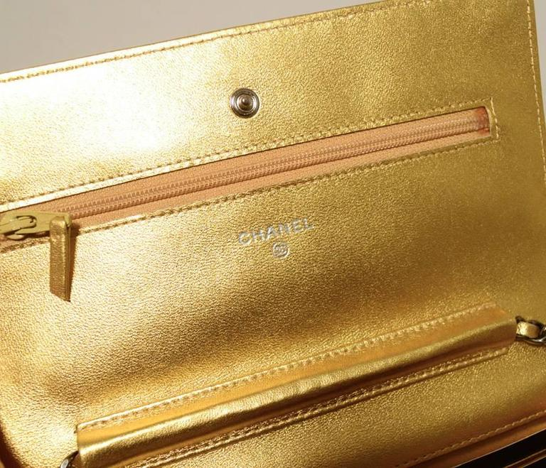 Fabulous Chanel Gold Lizard Classic Wallet on a Chain WOC Rare 5