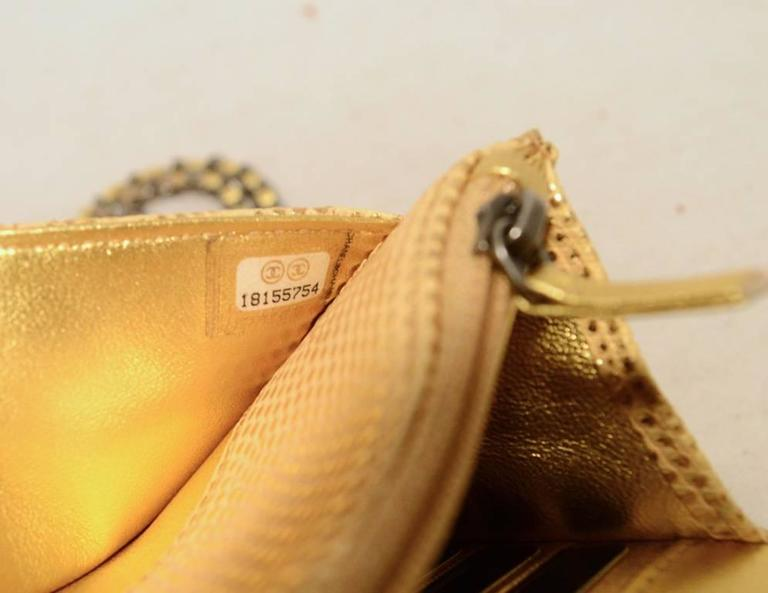 Fabulous Chanel Gold Lizard Classic Wallet on a Chain WOC Rare 7