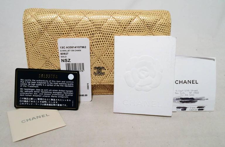 Fabulous Chanel Gold Lizard Classic Wallet on a Chain WOC Rare 8