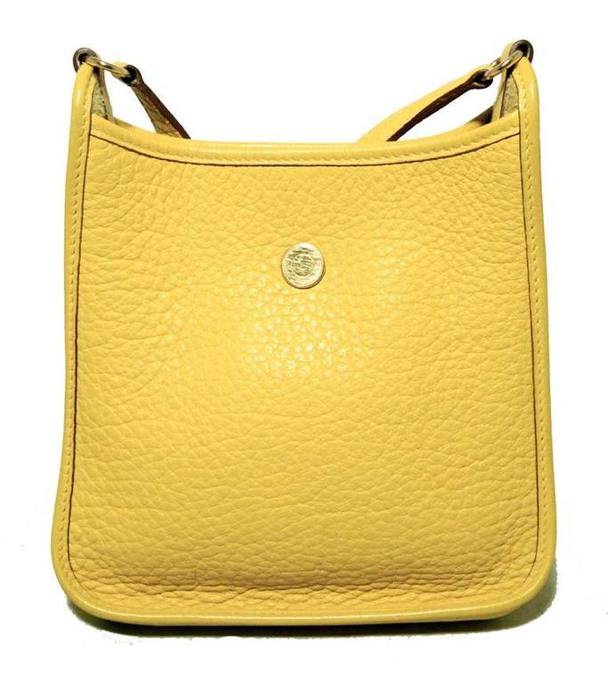 Rare Hermes Yellow Clemence Leather TPM Mini Vespa Shoulder Bag 3