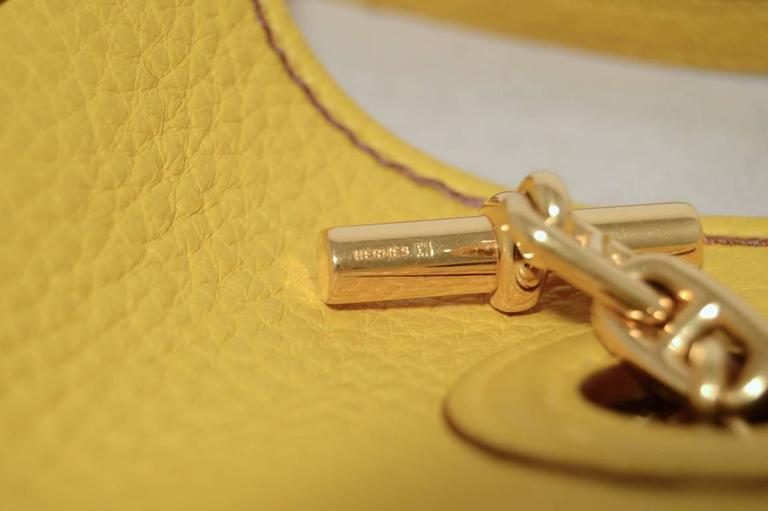 Rare Hermes Yellow Clemence Leather TPM Mini Vespa Shoulder Bag 2