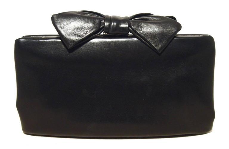 Chanel Black Lambskin Bow Top Clutch  2