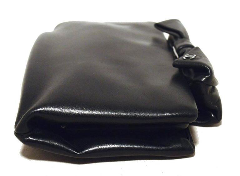 Chanel Black Lambskin Bow Top Clutch  3