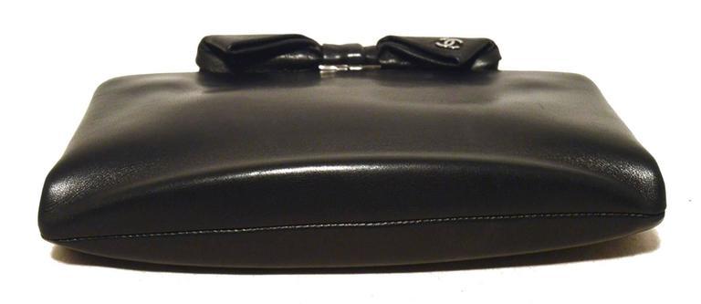 Chanel Black Lambskin Bow Top Clutch  4
