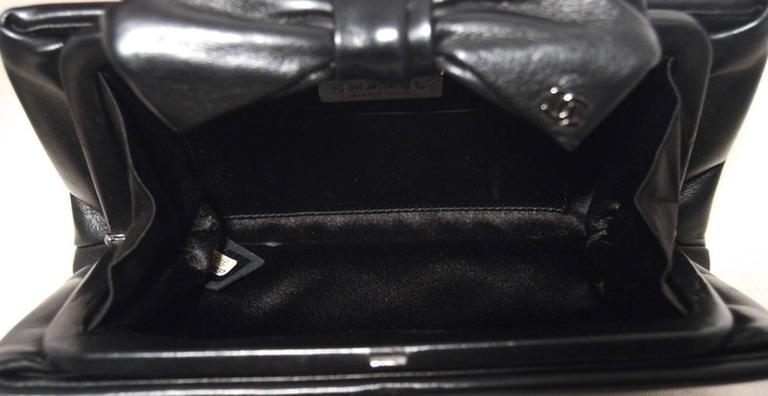 Chanel Black Lambskin Bow Top Clutch  5