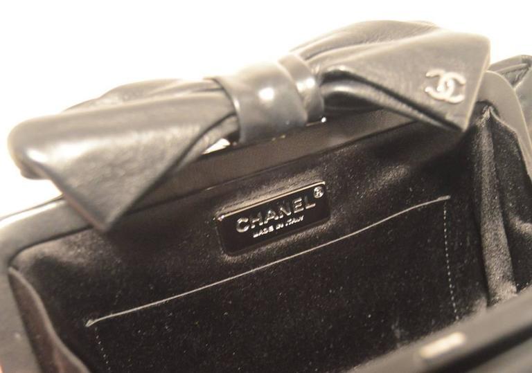 Chanel Black Lambskin Bow Top Clutch  7