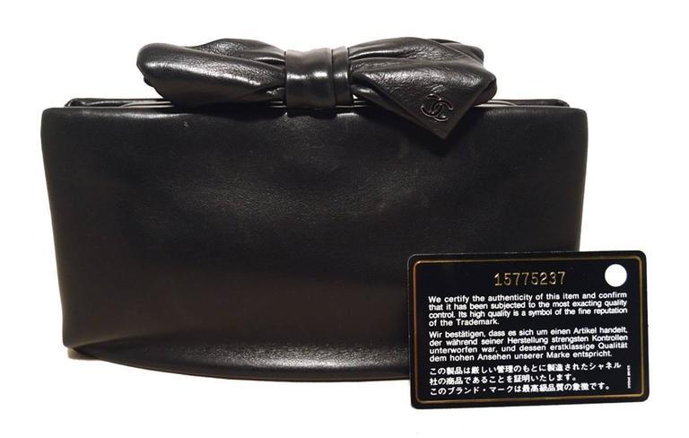 Chanel Black Lambskin Bow Top Clutch  6