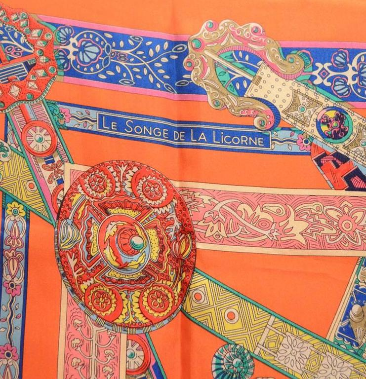 Hermes Le Songe de la Licorne Silk Scarf in Orange 6