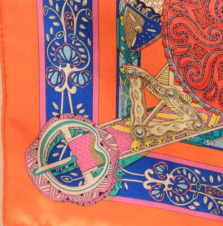Hermes Le Songe de la Licorne Silk Scarf in Orange 3