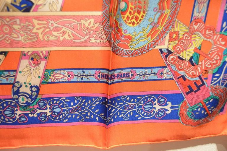 Hermes Le Songe de la Licorne Silk Scarf in Orange 7