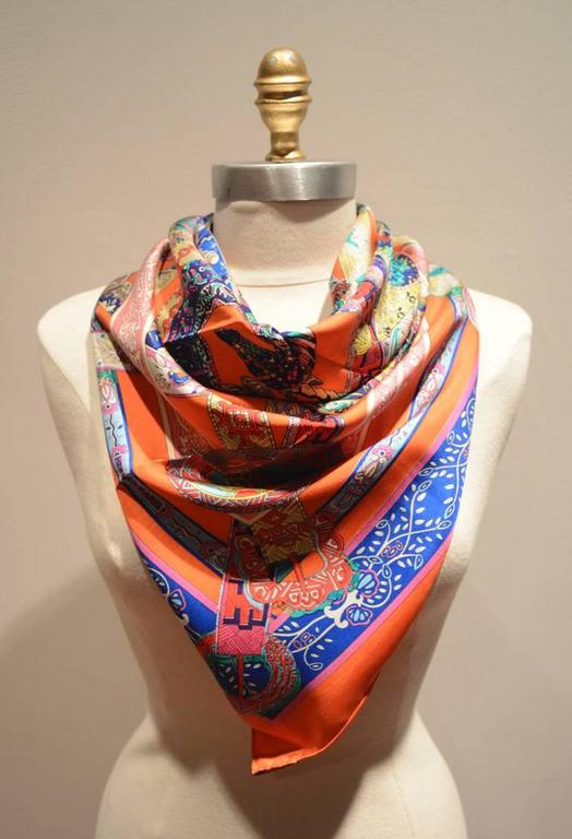 Hermes Le Songe de la Licorne Silk Scarf in Orange 2