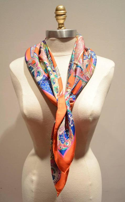 Hermes Le Songe de la Licorne Silk Scarf in Orange 4