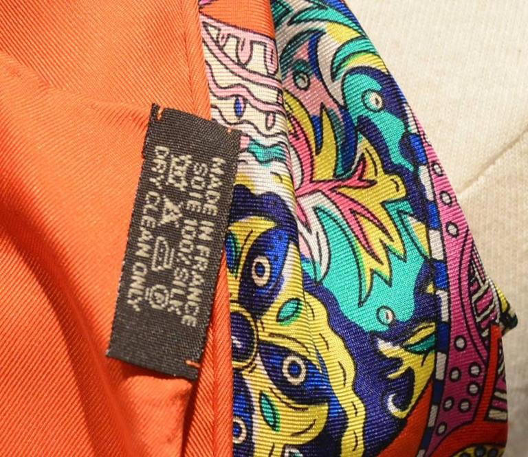 Hermes Le Songe de la Licorne Silk Scarf in Orange 5