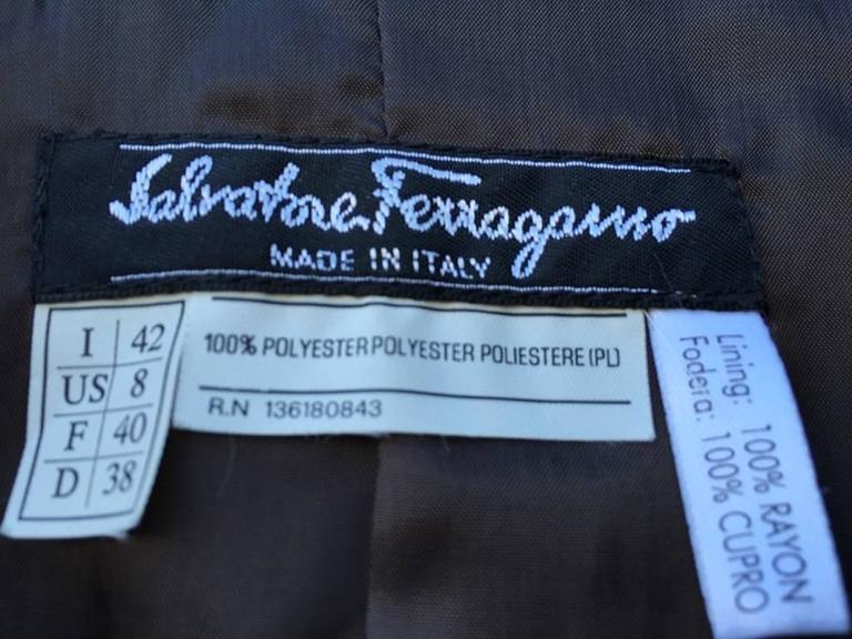Black Salvatore Ferragamo Chocolate Brown Button Up Jacket For Sale