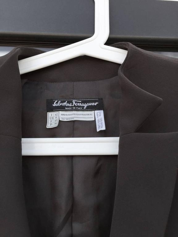 Salvatore Ferragamo Chocolate Brown Button Up Jacket In Excellent Condition For Sale In Philadelphia, PA
