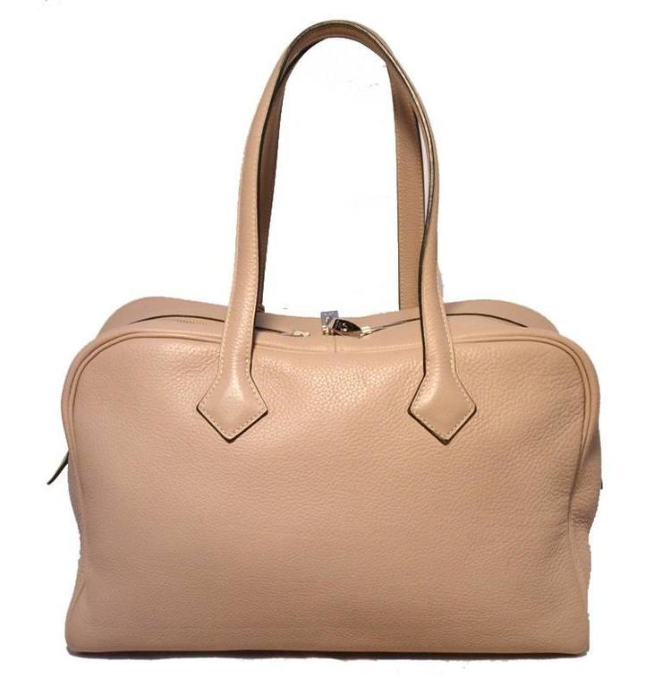 Hermes Taupe Clemence Leather Victoria II 35cm Travel Tote Bag For ...