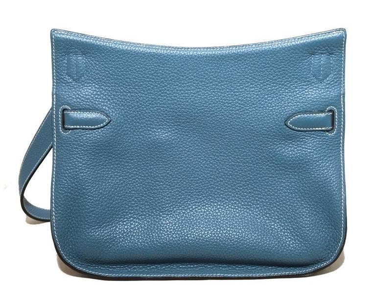 Hermes Blue Jean Clemence Leather Jypsiere 26 Shoulder Bag 2