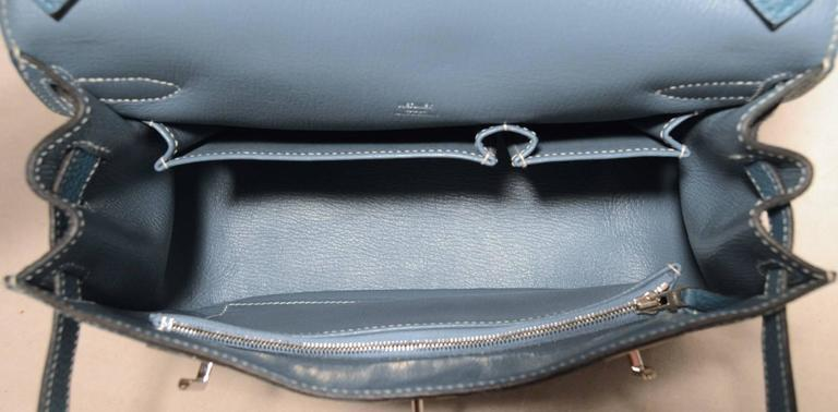 Hermes Blue Jean Clemence Leather Jypsiere 26 Shoulder Bag 6