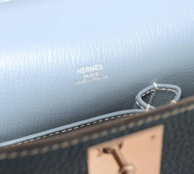 Hermes Blue Jean Clemence Leather Jypsiere 26 Shoulder Bag 5