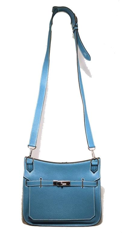 Hermes Blue Jean Clemence Leather Jypsiere 26 Shoulder Bag 8