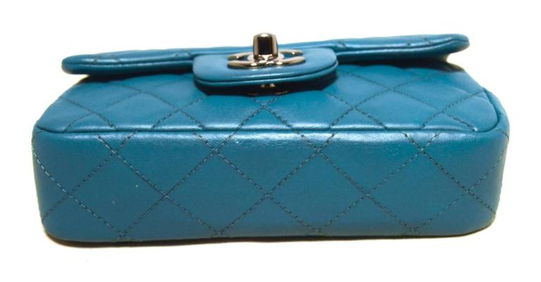 Chanel Teal Leather Extra Mini Classic Flap Shoulder Bag In Excellent Condition For Sale In Philadelphia, PA