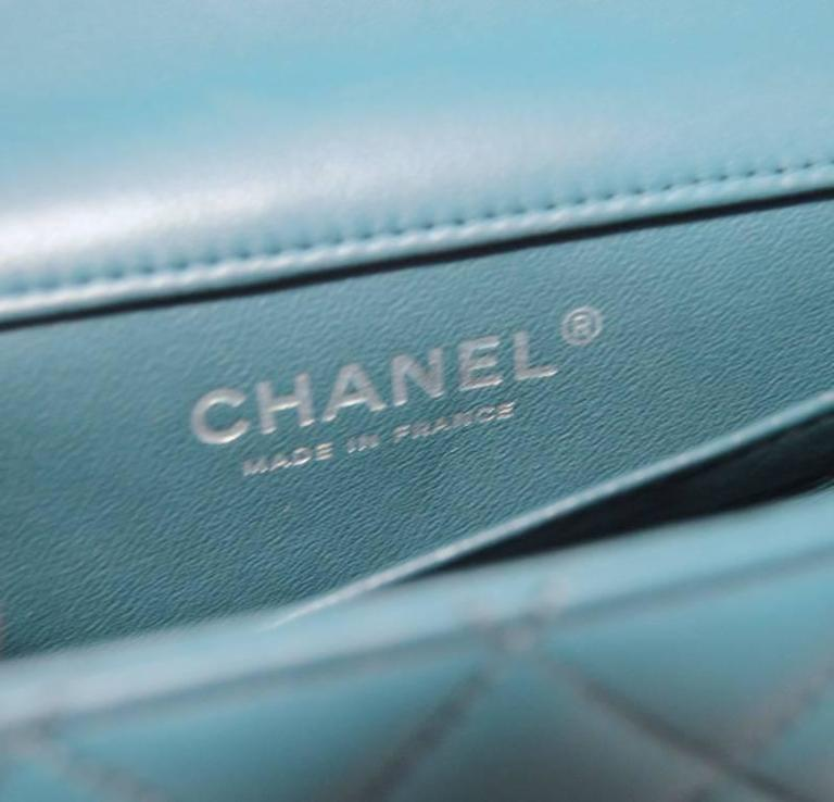 Women's or Men's Chanel Teal Leather Extra Mini Classic Flap Shoulder Bag For Sale