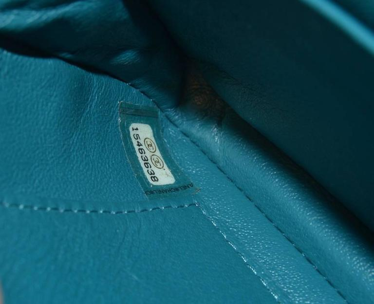 Chanel Teal Leather Extra Mini Classic Flap Shoulder Bag For Sale 2