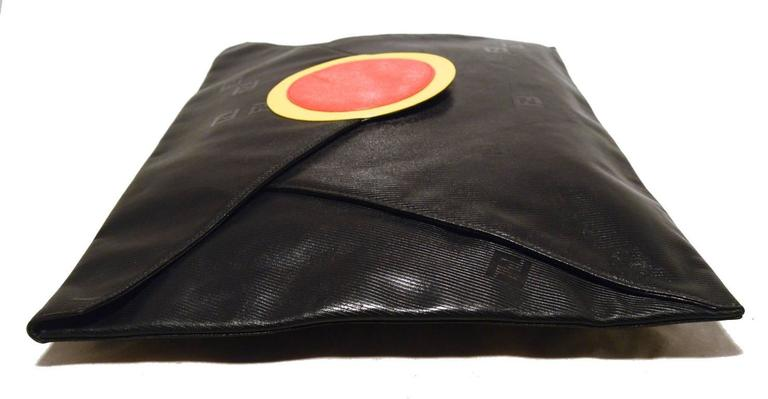 Fendi Fabulous Vintage Collectors Item Oversize Black Envelope Clutch  3