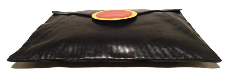 Fendi Fabulous Vintage Collectors Item Oversize Black Envelope Clutch  6