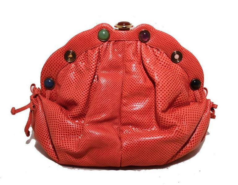 Red Judith Leiber Dark Pink Coral Lizard Leather Clutch For Sale