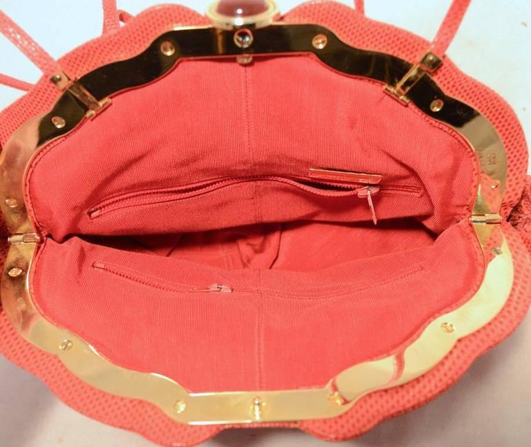 Women's Judith Leiber Dark Pink Coral Lizard Leather Clutch For Sale