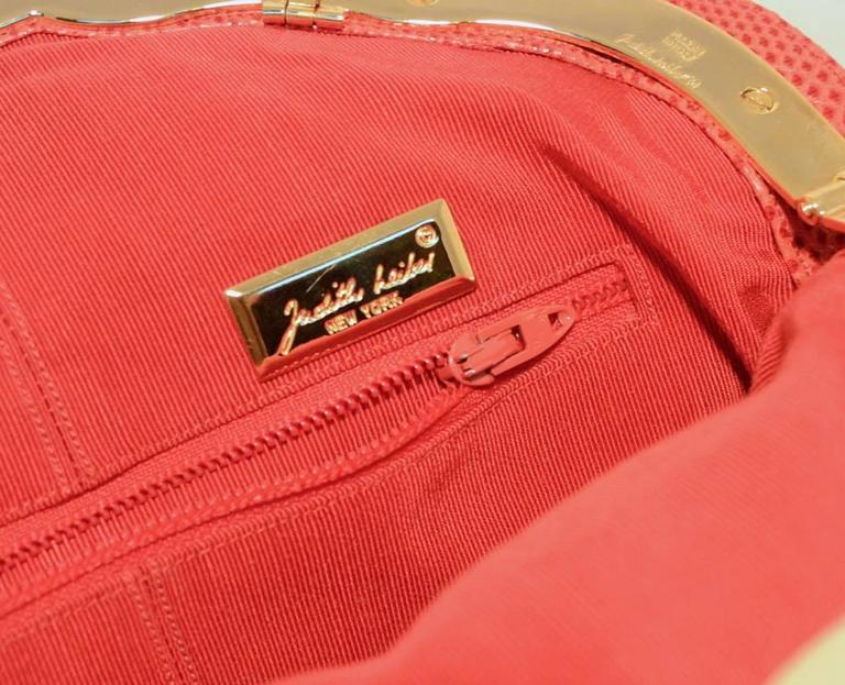 Judith Leiber Dark Pink Coral Lizard Leather Clutch For Sale 1