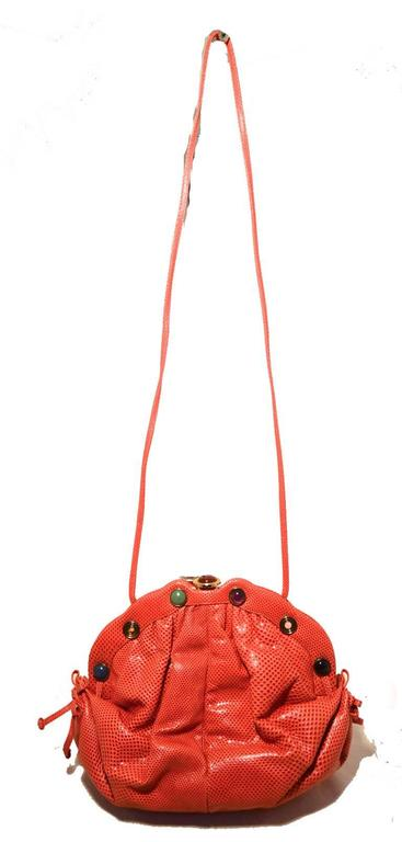 Judith Leiber Dark Pink Coral Lizard Leather Clutch For Sale 2