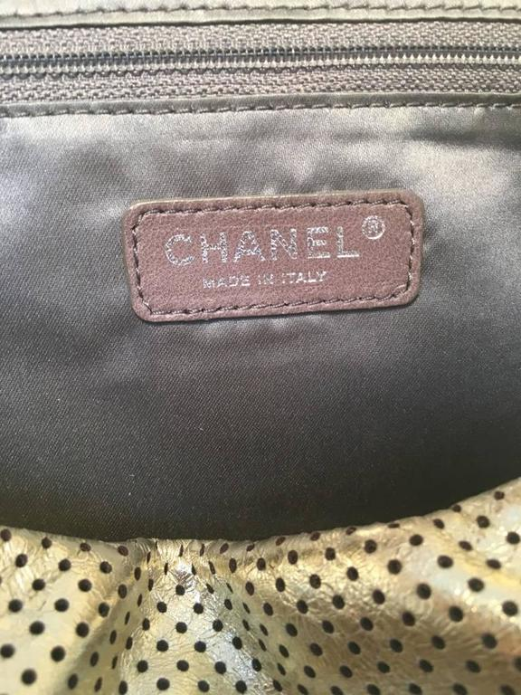 Chanel Gold Perforated Leather Classic Flap Shoulder Bag 9