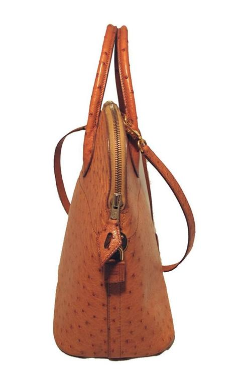 Brown Hermes Rare Tan Ostrich Bolide Handbag For Sale